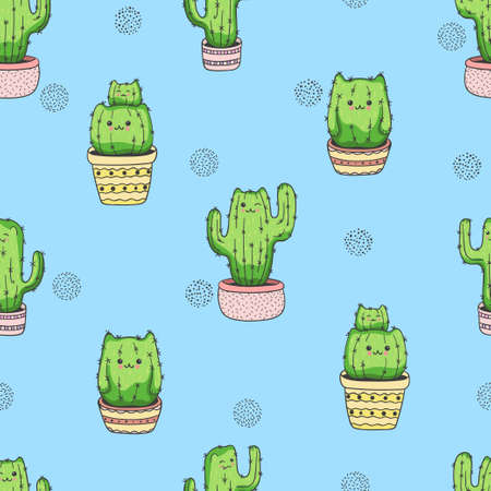 Cute cartoon cactus cat pattern. Vector seamless background. Ilustração
