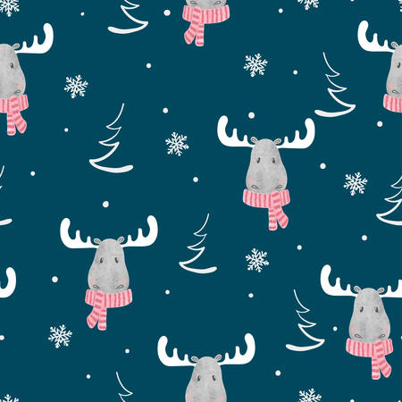 Christmas seamless pattern with cute elks. Vector winter background.