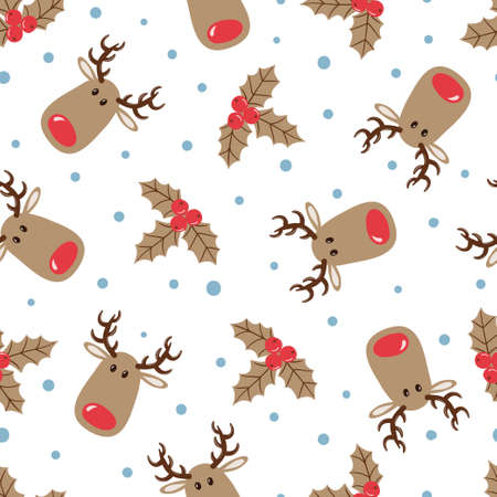 Christmas pattern with cute deers and mistletoe. Vector holiday background.