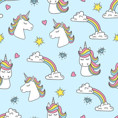 Unicorn and rainbow seamless pattern. Vector background Illustration
