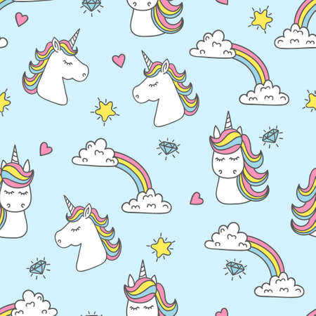 Unicorn and rainbow seamless pattern. Vector background Ilustração