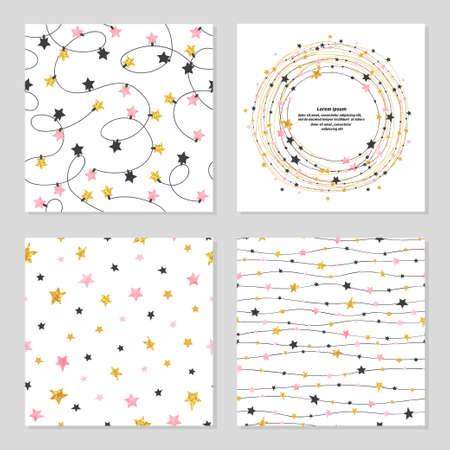 Set of celebration patterns with stars. Vector backgrounds.