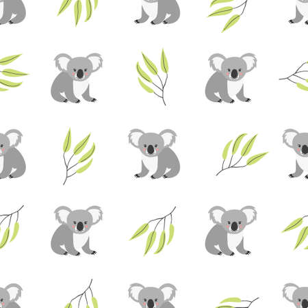 Seamless pattern with cute koala bears. Vector background. 矢量图像