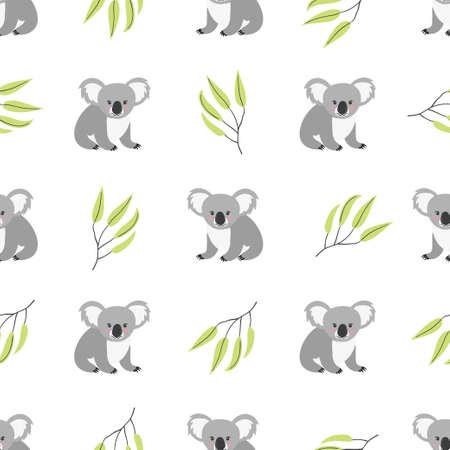 Seamless pattern with cute koala bears. Vector background. Illustration
