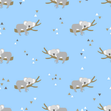 Seamless vector pattern with cute little sleeping koala bears.