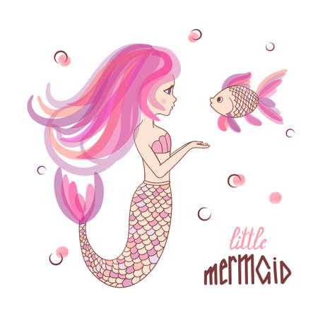Beautiful cartoon little Mermaid fish vector illustration.