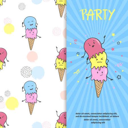 Ice cream party invitation or poster template. Vector cartoon ice cream background Vectores