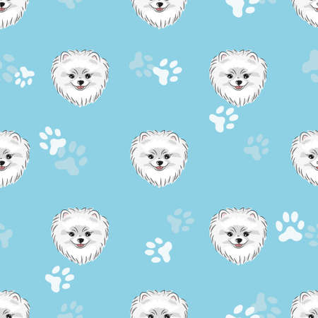 A Seamless pattern with cute pomeranian puppy Vector dogs background.