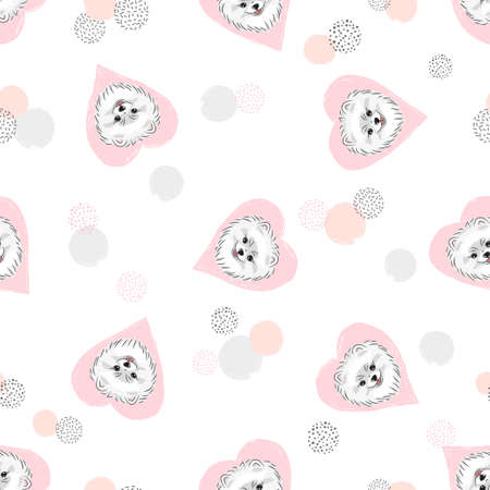 Seamless vector pattern with cute pomeranian puppies and pink hearts.
