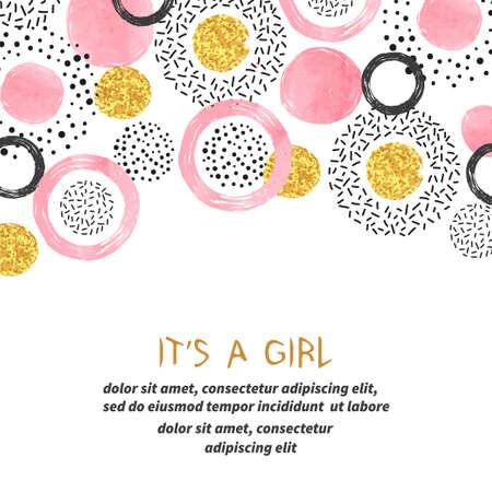 Karta baby shower z abstrakcyjnymi różowymi i błyszczącymi złotymi kółkami.