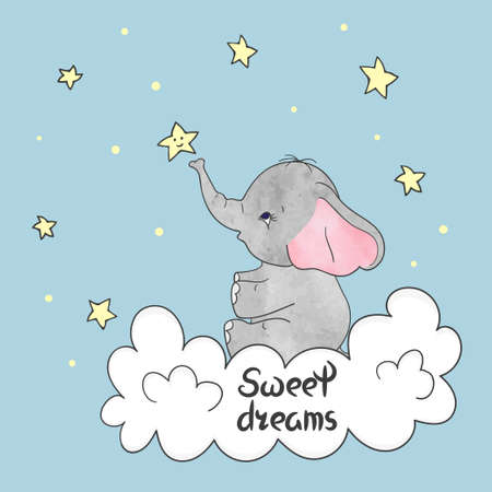 Cute little elephant on the cloud. Sweet dreams vector illustration. Stock Illustratie