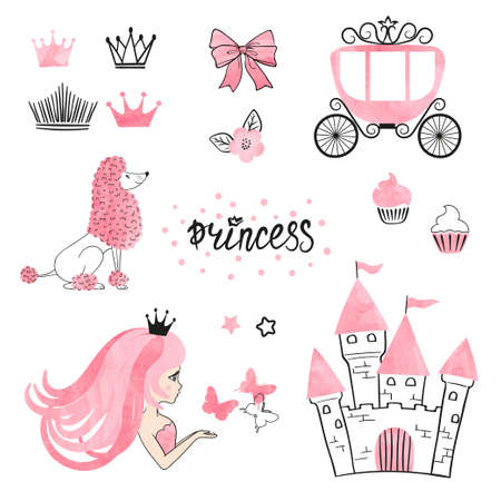 Set of Princess world design elements isolated on white. Vector illustration.