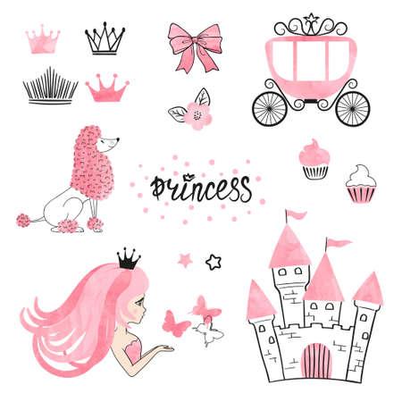 Set van Princess wereld ontwerpelementen geïsoleerd op wit. Vector illustratie Stockfoto - 95487184