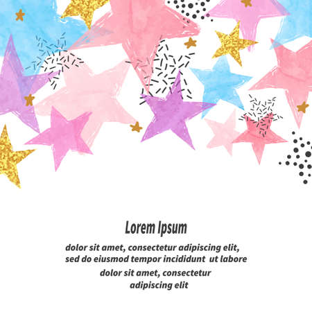 Abstract vector celebration background with colorful watercolor stars and place for text.