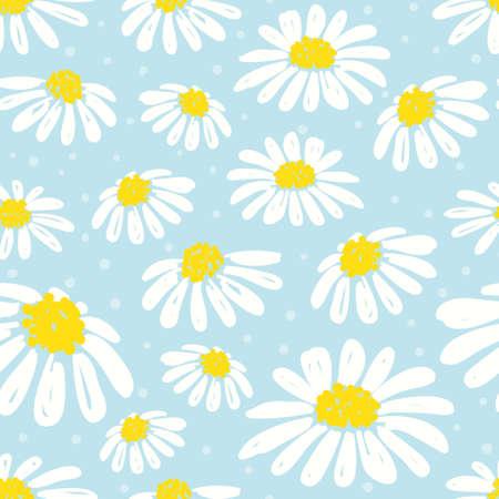 원활한 데이지 패턴입니다. 파랑에 백색 chamomiles와 벡터 배경입니다. 스톡 콘텐츠 - 96854955