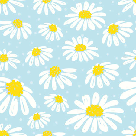 A Seamless daisy pattern. Vector background with white chamomiles on blue.