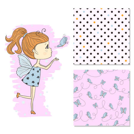 Cute little girl in a butterfly costume. Fashion print set with seamless patterns.