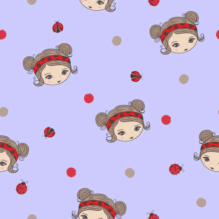 Seamless pattern with cute little girl and ladybug