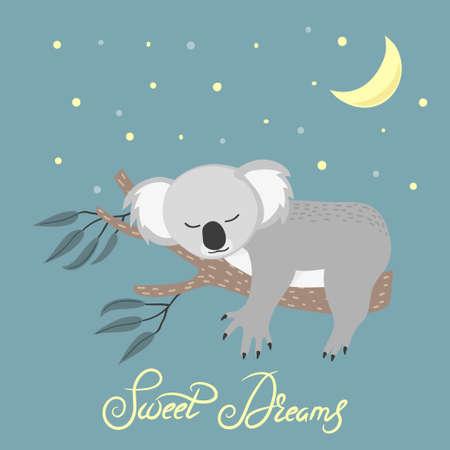 Cute sleeping koala on the tree. Sweet dreams vector illustration.