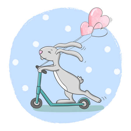Cute cartoon rabbit with balloons riding scooter. Can be used for kids print, birthday cards design.