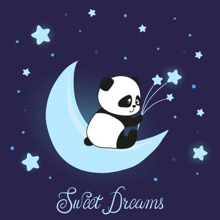 mignon petit panda ours sur les nageurs doux rêves illustration vectorielle pour les arbres des arbres