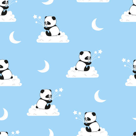 Seamless pattern with cute panda bears on the clouds. Vector background for kids.