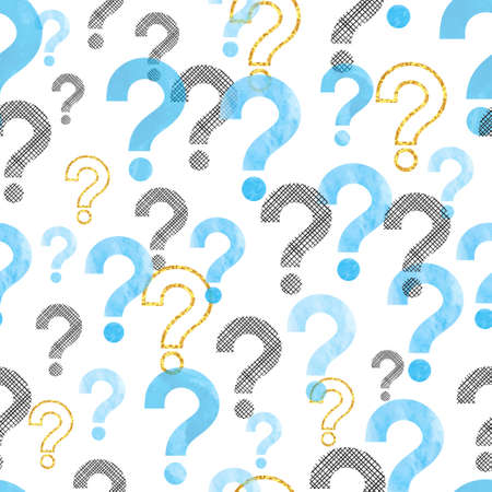 Seamless question mark pattern. Vector background with blue watercolor symbols.
