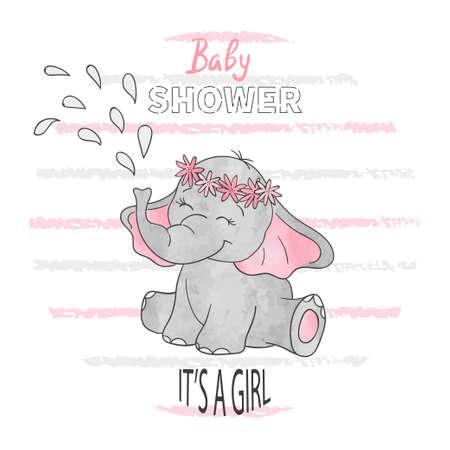 Baby shower dziewczynka. Ilustracja wektorowa z uroczym słoniątkiem.
