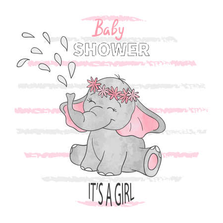 Baby shower girl. Vector illustration with cute baby elephant. 版權商用圖片 - 99223247
