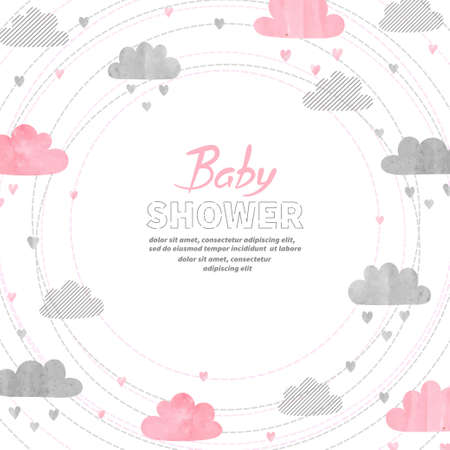 Baby shower girl invitation card design with watercolor clouds. Illustration