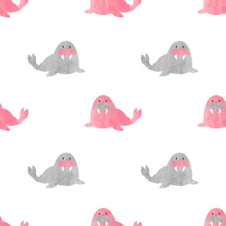 Seamless pattern with watercolor cute walrus for kids. Vector baby print. Zdjęcie Seryjne - 99223697