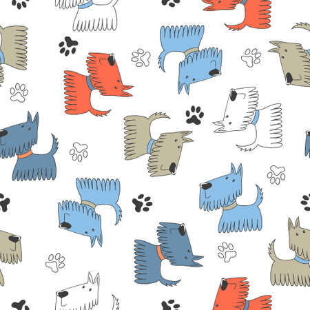 Seamless childish pattern with cute cartoon dogs.