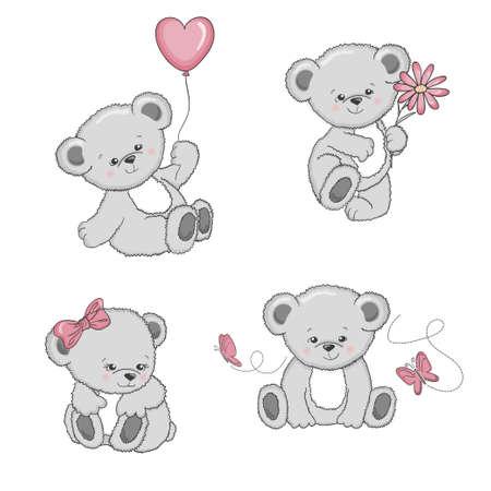 Conjunto de osos de peluche de dibujos animados lindo aislado sobre fondo blanco. Ilustración vectorial.