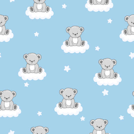 Seamless pattern with cute teddy bears and clouds.