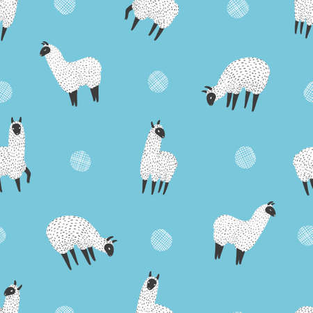 Cute llama seamless pattern. Vector blue background with hand drawn alpaca lama.
