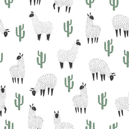 Seamless llama and cactus pattern. Vector background.