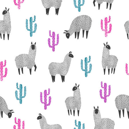 Seamless pattern with cute watercolor llama and cactus. Vector background. Çizim