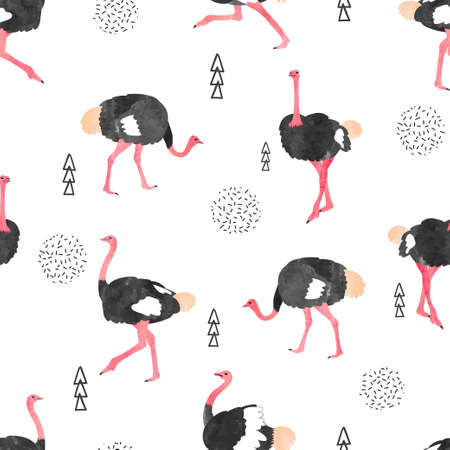 Seamless pattern with watercolor ostrich. Vector trendy background.