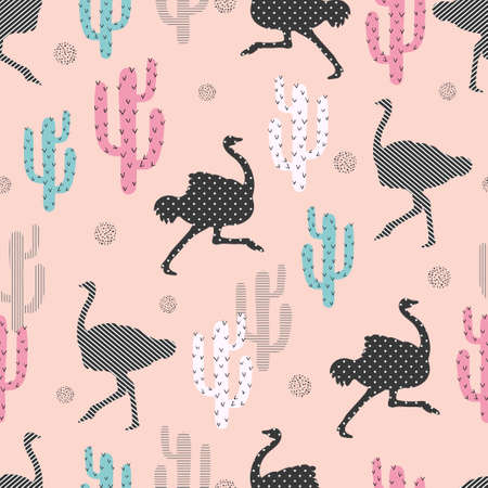 Seamless pattern with ostrich and cactus. Vector trendy background.