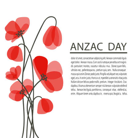 Bright poppy flowers vector illustration. Remembrance day symbol. Anzac day poster with place for text.