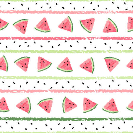 Seamless striped pattern with watercolor watermelon slices. Vector summer trendy background.