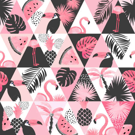 Seamless watercolor tropical pattern in patchwork style. Vector trendy background with flamingo, palm leaves, watermelon.
