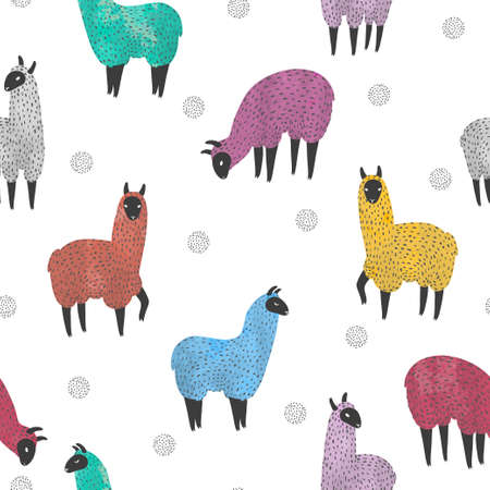 Seamless pattern with cute watercolor colorful llama. Vector background with lamas.  イラスト・ベクター素材