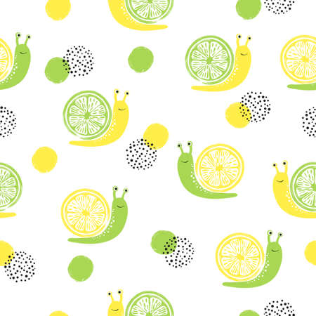 Seamless pattern with cute citrus snails.