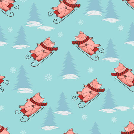 Christmas pattern with cute sledding pig. Vector New Year seamless background.