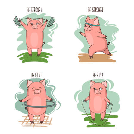 Set of cute cartoon little pigs involved in sports. Vector fitness illustration. Ilustração