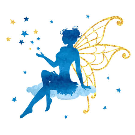 Watercolor fairy with stars. Vector illustration isolated on white.