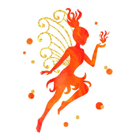 Watercolor fiery fairy isolated on white. Vector illustration. Illustration