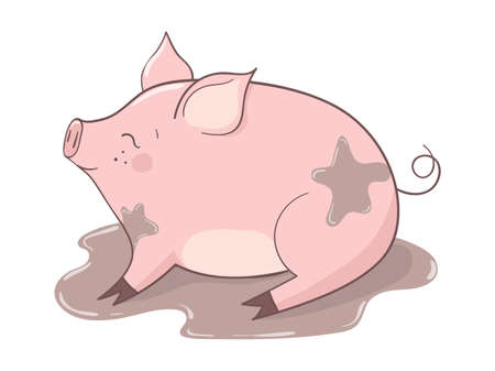 Cute cartoon pig in the puddle of mud. Vector illustration. Ilustrace