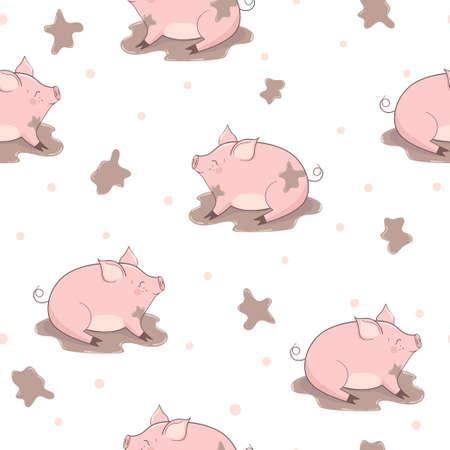 Nahtloses Muster mit niedlichen Schweinen im Schlamm. Vektorgrafik